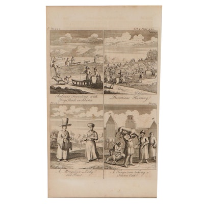 """Emanuel Bowen Engraving From """"Complete Collection of Voyages and Travels,"""" 1744"""