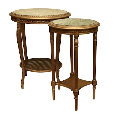 Louis XVI Style Giltwood and Marble Top Guéridon and End Table, 20th Century