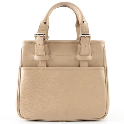 Burberry Small Structured Tote Bag in Beige Pebble Grain Leather with Box