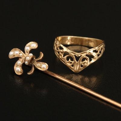 14K Pearl Fleur-de-Lis Stick Pin  and Chevron Openwork Ring