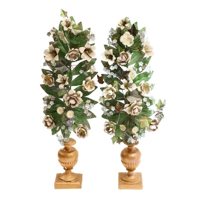Italian Altar Painted Tole Metal Bouquets in Gilt Wood Urns, 19th Century