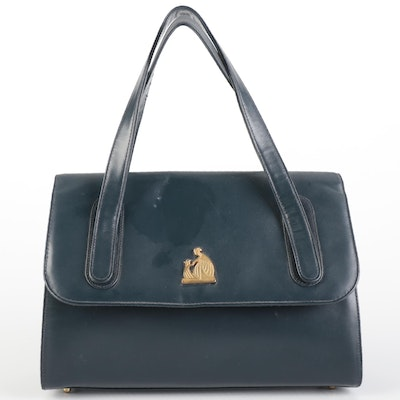 Lanvin Top Handle Bag in Navy Smooth Leather