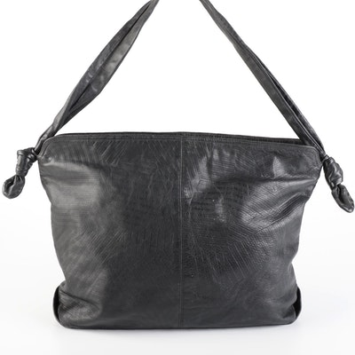Palizzio Accessories Shoulder Bag in Black Embossed Leather