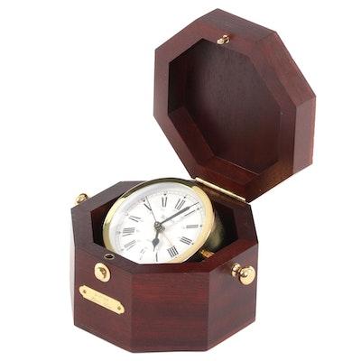Bulova Quartermaster Clock in Mahogany Stained Wood Presentation Box