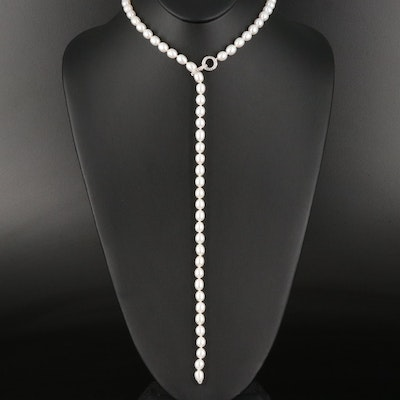 Sterling Pearl and White Topaz Lariat Necklace