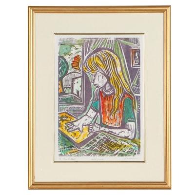 "Irving Amen Hand-Colored Woodcut ""The Artist,"" Circa 2000"