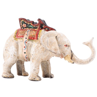 Hand-Painted Cast Iron Elephant Coin Bank