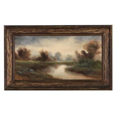 Allen Fontaine Landscape Watercolor Painting, Mid-20th Century