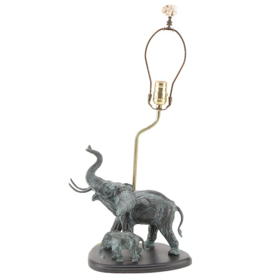 Patinated Cast Metal Elephant with Calf Table Lamp