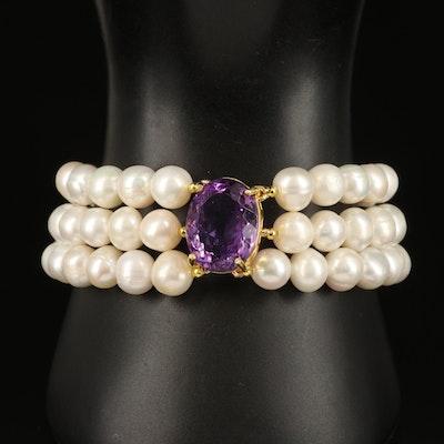 Sterling Amethyst and Pearl Multi-Strand Bracelet