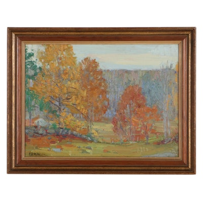 "Ernest David Roth Landscape Oil Painting ""Autumn"""