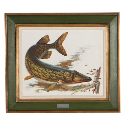 """Fred Sweney Oil Painting """"Eastern Pickerel,"""" Mid-20th Century"""