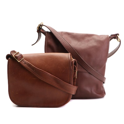 Coach Flap Shoulder Bags in Brown and Dark Brown Leather
