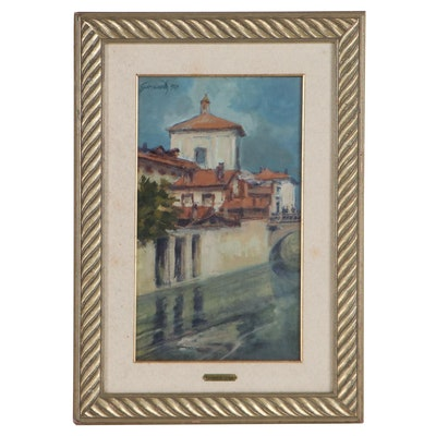 Raimondo Giovanetti Oil Painting of Milan Street Scene, 1929