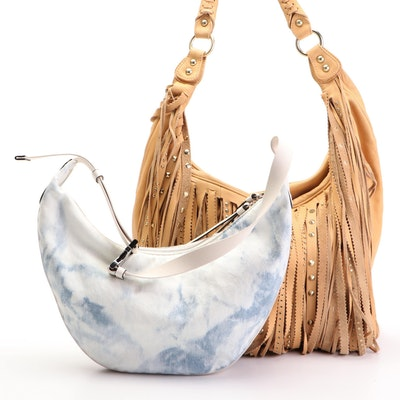 Rag & Bone Acid Wash Denim Hobo Bag and Ash Fringe Hobo Bag in Tan Leather