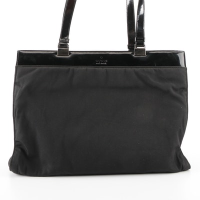 Gucci Tote Bag in Black Canvas and Patent Leather Trim
