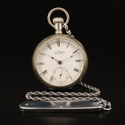 1888 Waltham Pocket Watch with Sterling Silver Chain Fob