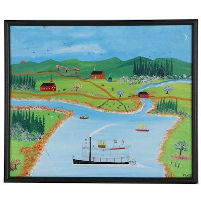 James C. Litz Folk Art Landscape Acrylic Painting, 1984