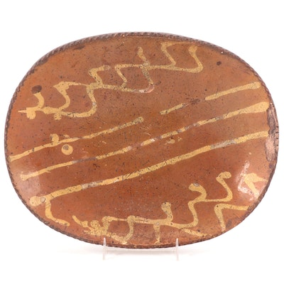 Handcrafted Redware Earthenware Trencher, 19th Century