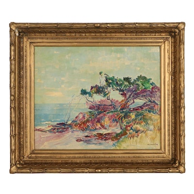 Theodore Coe Coastal Landscape Oil Painting, Early 20th Century