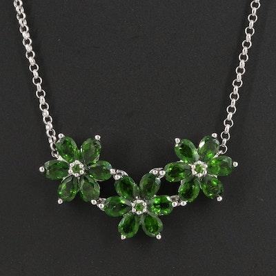 Sterling Diopside Flower Necklace