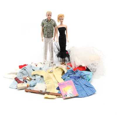 1958 Mattel Barbie and 1960 Ken Dolls with Clothing and Accessories
