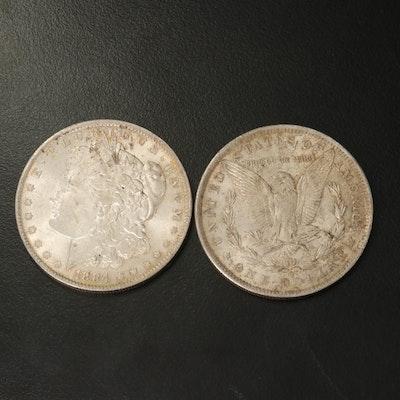 Two 1884-O Morgan Silver Dollars
