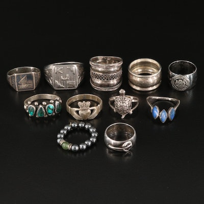 Sterling Ring Assortment Including Lapis Lazuli, Hematite and Resin