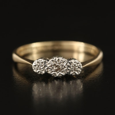 Vintage 9K 0.04 CTW Diamond Three Stone Illusion Set Ring with Platinum Accent