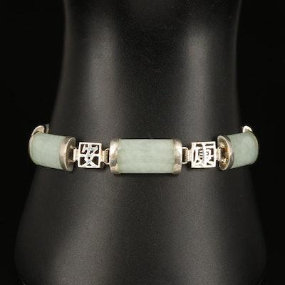 Sterling Jadeite Chinese Inspired Bar Bracelet