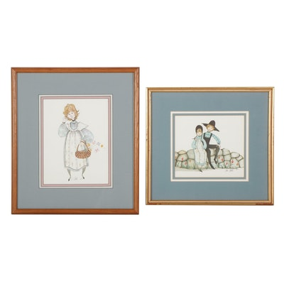 """Patricia Buckley Moss Offset Lithographs """"Happy Together"""" and """"Maggie,"""" 1980s"""