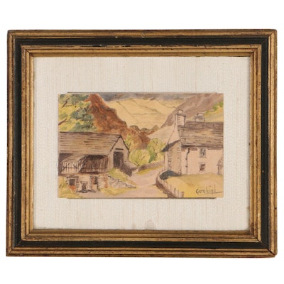 Rex Goreleigh Watercolor Painting of Village Street, Mid-20th Century