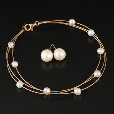 14K Wire and Pearl Station Bracelet with Pearl Stud Earrings