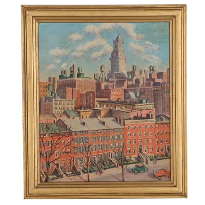 Lesley Crawford Urban Landscape Oil Painting, Mid-20th Century