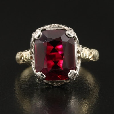 Vintage 14K Two Tone Ruby Openwork Ring