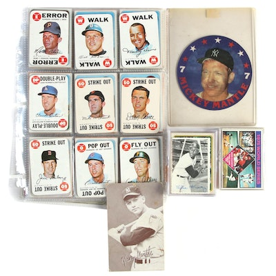 """1960s-1990s MLB Cards with Mickey Mantle """"Exhibits"""" Card and """"7-Eleven"""" Disc"""
