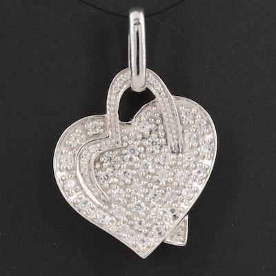 Sterling White Zircon Double Heart Pendant