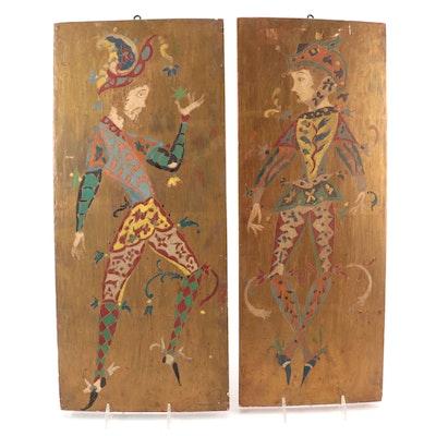 Folk Art Jester Acrylic Paintings, Mid-20th Century