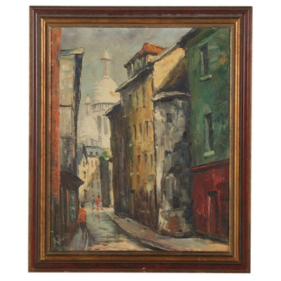 René Lorotte Oil Painting of European City Alleyway, Mid-Late 20th Century