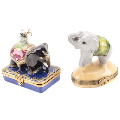 Fabergé and Other Hand-Painted Limoges Porcelain Elephant Form Boxes
