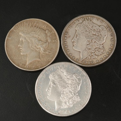 Two Morgan Silver Dollars and One Peace Silver Dollar