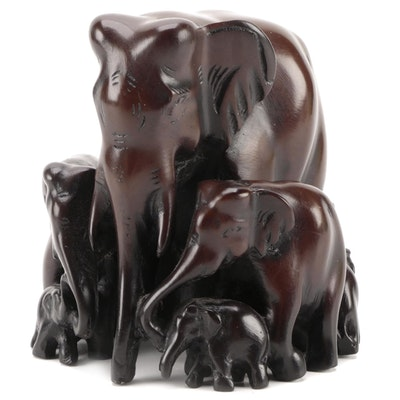 Resin Elephant and Calfs Form Figurine