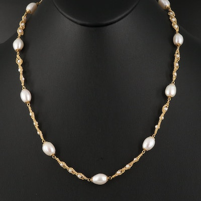Sterling Pearl Braided Station Necklace