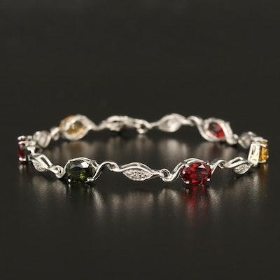 Sterling Gemstone Bracelet with Garnet, Opal and Moldavite