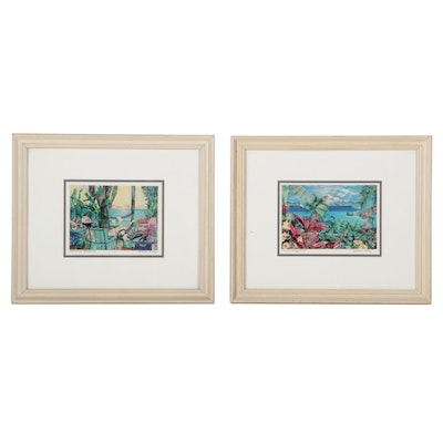 """Eileen Seitz Offset Lithographs """"Macaws Playground"""" and """"Treehouse Breezes"""""""