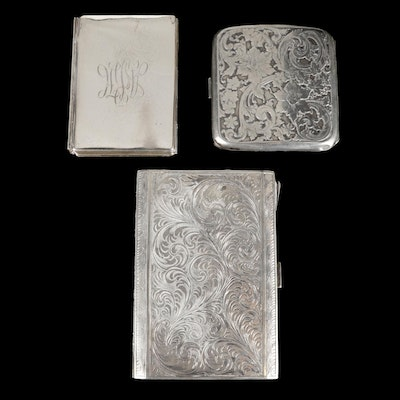 Sterling and 800 Silver Cigarette Cases and Accordion Frame, Early/Mid 20th C.