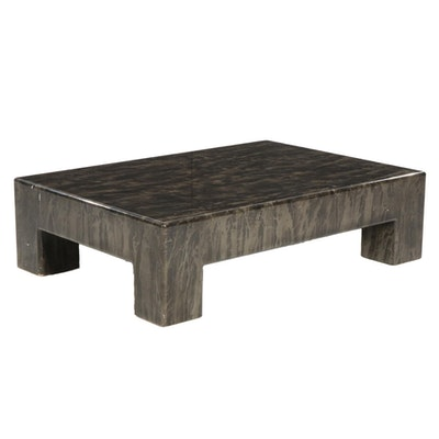 Contemporary Coffee Table with Marble-Pattern Laminate Finish