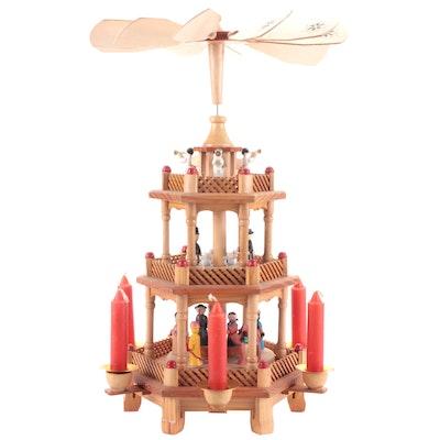 Joybrite Christmas Nativity Pyramid Carousel Candleholder