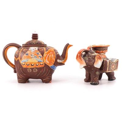 Japanese Porcelain Moriage Takito Elephant Teapot and Moriyama Morimachi Ashtray