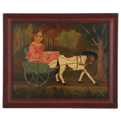"""Jane Eckelberry Folk Art Oil Painting """"Girl in Pink with Pony Cart"""""""